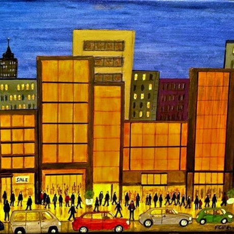 "(CreativeWork) ""The Mall"" Original Busy Cityscape Folk Painting 61 x 46 cm  by Fran Caldwell. Acrylic Paint. Shop online at Bluethumb."