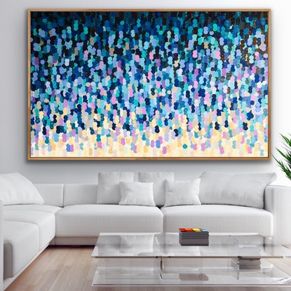 (CreativeWork) L'averse 200x122 framed large abstract by Sophie Lawrence. Acrylic Paint. Shop online at Bluethumb.