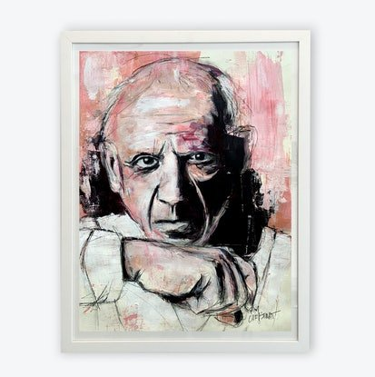 (CreativeWork) Pablo Picasso by Tim Christinat. Acrylic Paint. Shop online at Bluethumb.