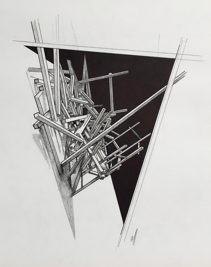 (CreativeWork) Dismantled 1 by Ross Morgan. Drawings. Shop online at Bluethumb.