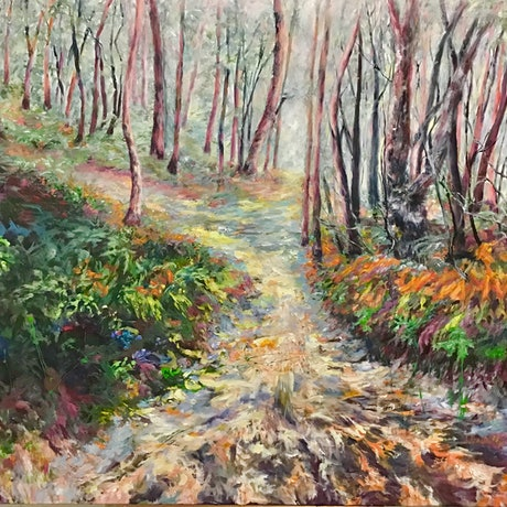 (CreativeWork) Bush Track After The Rain by Sharon DeSailly. Acrylic Paint. Shop online at Bluethumb.