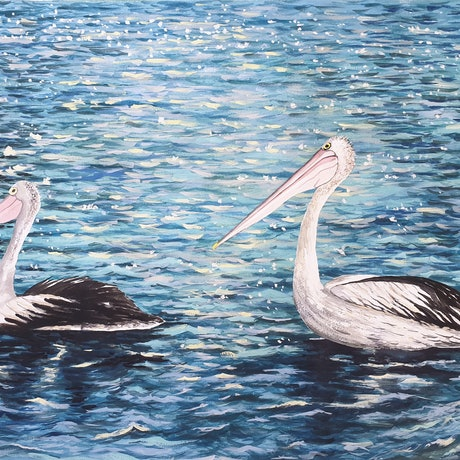 (CreativeWork) Graceful Pelicans on Sparkling Waters by Harry Lea. Watercolour Paint. Shop online at Bluethumb.