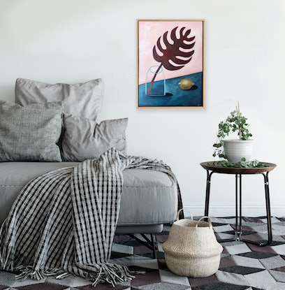(CreativeWork) Red Monster - Intersect 2019 by Sally Browne. Oil Paint. Shop online at Bluethumb.