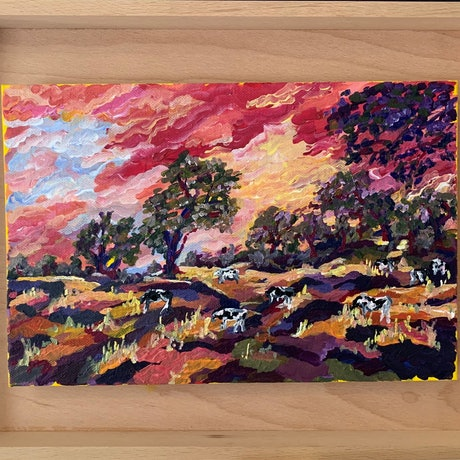 (CreativeWork) Field of Dreams - The Riverina Series Mini by Maggie Deall. Acrylic Paint. Shop online at Bluethumb.
