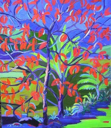 (CreativeWork) Mondrian The Red Tree  by Virginia McGowan. Oil. Shop online at Bluethumb.