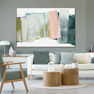 (CreativeWork) Scheibe - very large grey apricot abstract by Stephanie Laine. Acrylic Paint. Shop online at Bluethumb.