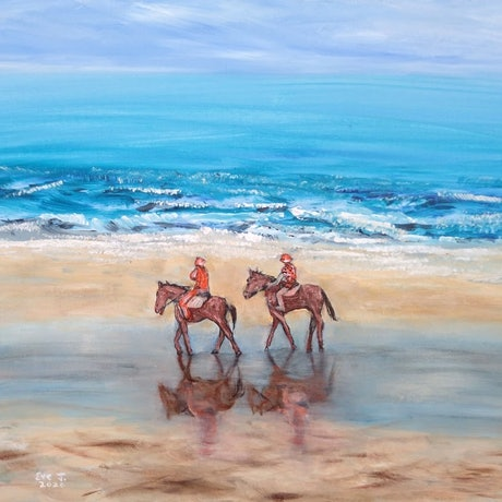 (CreativeWork) Beach ride by Eve Jorgensen. Acrylic Paint. Shop online at Bluethumb.