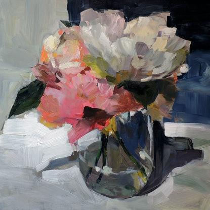 (CreativeWork) Peonies in Glass Jar by Ray Saunderson. Oil. Shop online at Bluethumb.