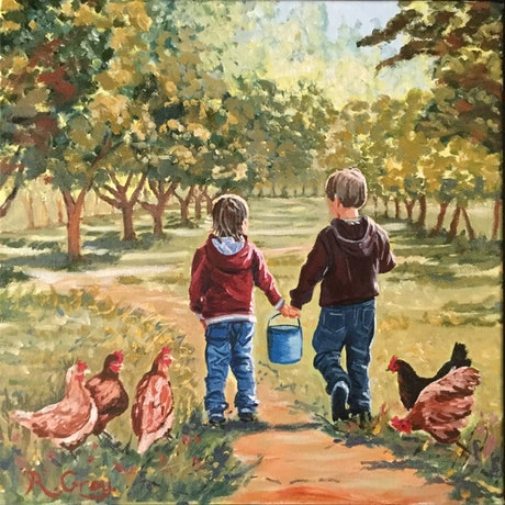 (CreativeWork) Lets Go Feed the Chickens! by Robyn Gray. Acrylic Paint. Shop online at Bluethumb.
