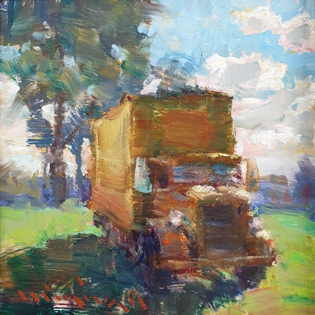 (CreativeWork) Yellow truck by Minhan Cho. Oil Paint. Shop online at Bluethumb.