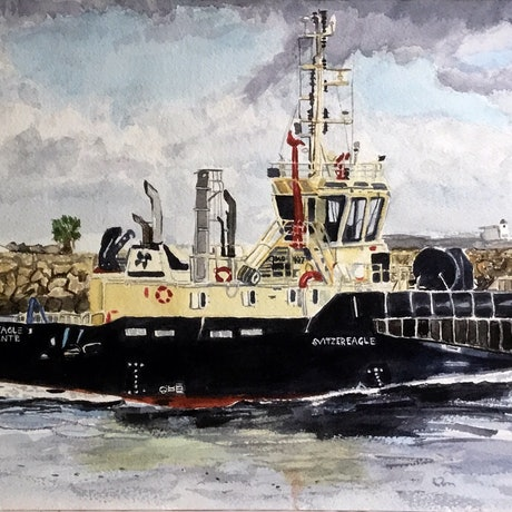 (CreativeWork) Tug chugging by Terri Rustand. Watercolour Paint. Shop online at Bluethumb.