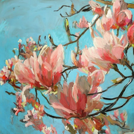 (CreativeWork) Pink Magnolia by Ray Saunderson. Oil Paint. Shop online at Bluethumb.