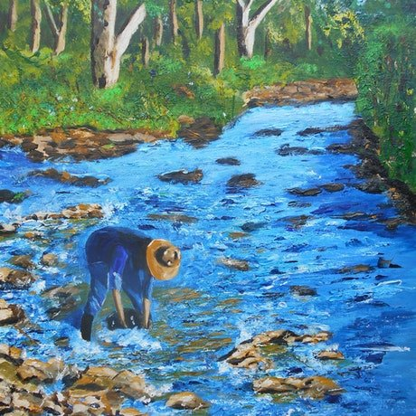 (CreativeWork) Man Fossicking for Gems by Sharon Robards. Acrylic Paint. Shop online at Bluethumb.