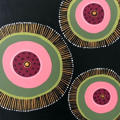 (CreativeWork) Golden Seeds by emma whitelaw. Acrylic Paint. Shop online at Bluethumb.