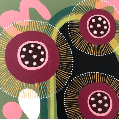 (CreativeWork) Ruby Blossoms by emma whitelaw. Acrylic Paint. Shop online at Bluethumb.