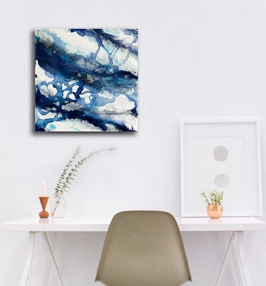 (CreativeWork) Aqueous Flow VIII – Original Abstract Painting by Jacquelyn Stephens. Acrylic Paint. Shop online at Bluethumb.