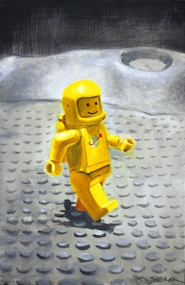 (CreativeWork) Spaceman Three out for a stroll by Ben Sherar. Oil Paint. Shop online at Bluethumb.