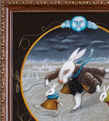 (CreativeWork) Father Rabbit  | folkloric surrealism  by Yulia Pustoshkina. Oil Paint. Shop online at Bluethumb.