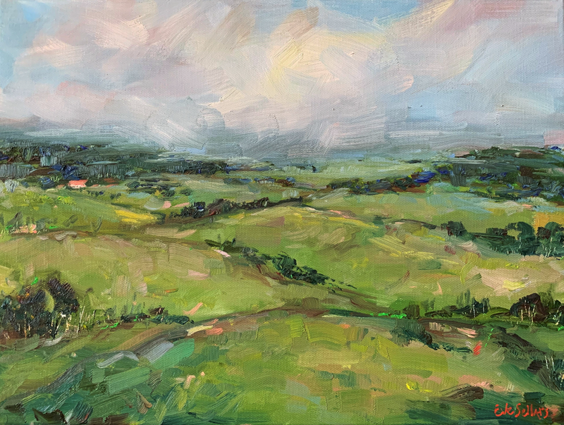 (CreativeWork) Greener Pasture by Eve Sellars. Oil Paint. Shop online at Bluethumb.
