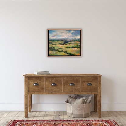 (CreativeWork) Just Over The Hill by Eve Sellars. Oil Paint. Shop online at Bluethumb.