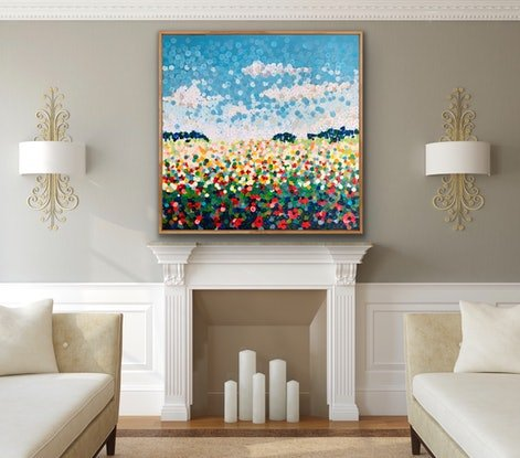 (CreativeWork) Poppy  122x122 framed large textured  abstract  on linen by Sophie Lawrence. Acrylic Paint. Shop online at Bluethumb.