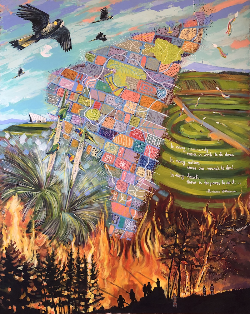 (CreativeWork) Story of the National Arboretum Canberra by Valentyna Crane. Acrylic Paint. Shop online at Bluethumb.