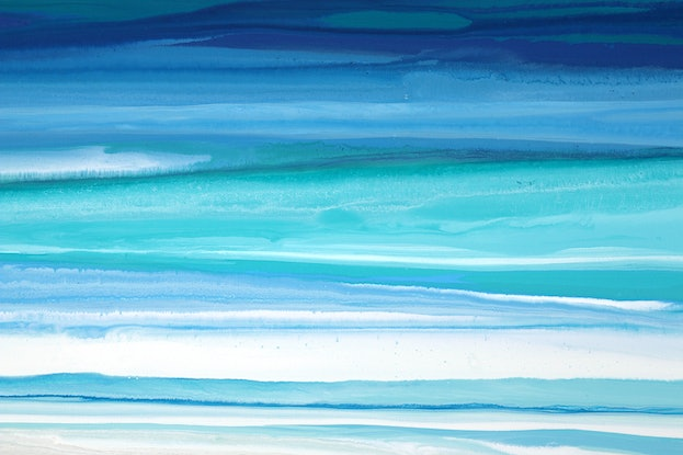 (CreativeWork) Ellasea - long blue, green, abstract seascape by Stephanie Laine Pickering. Acrylic Paint. Shop online at Bluethumb.