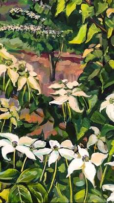 (CreativeWork) Forest 8 Japanese Dogwood, Spring Blooms by Valentyna Crane. Acrylic Paint. Shop online at Bluethumb.