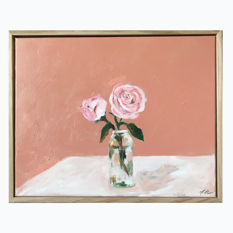 (CreativeWork) Two Roses In A Bottle by Marnie McKnight. Acrylic Paint. Shop online at Bluethumb.
