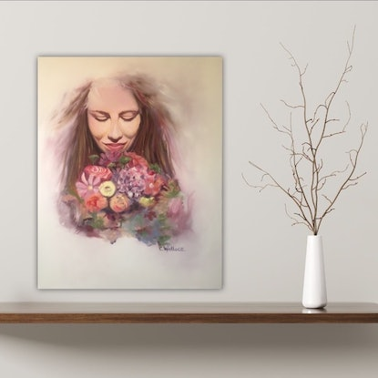 (CreativeWork) The Gift of Flowers by Catherine Wallace. Oil Paint. Shop online at Bluethumb.
