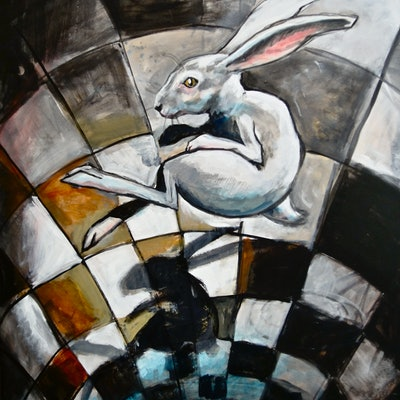 (CreativeWork) 'Falling White Rabbit and Shadow' Limited Edition Fine Art Print  Ed. 1 of 50 by Ross Morgan. Print. Shop online at Bluethumb.