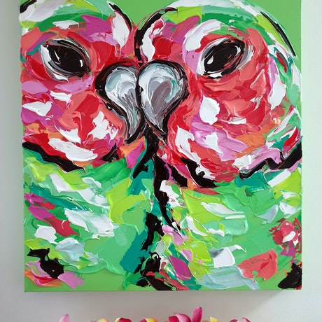 (CreativeWork) Be My Valentine's Day Lovebird by Lisa Fahey. Acrylic Paint. Shop online at Bluethumb.