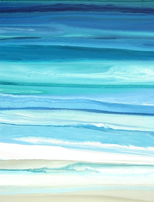 (CreativeWork) Carasea - large long blue, green, abstract seascape by Stephanie Laine Pickering. Acrylic Paint. Shop online at Bluethumb.
