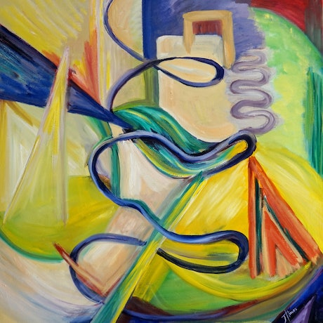 (CreativeWork) Creative Spiral by Jenny Hines. Oil Paint. Shop online at Bluethumb.