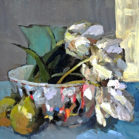 (CreativeWork) Tulips in a Chinese bowl by Ray Saunderson. Oil Paint. Shop online at Bluethumb.