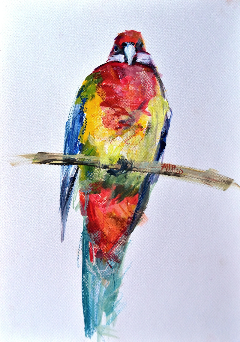 (CreativeWork) Rosella 3 by Rebecca Hill. Mixed Media. Shop online at Bluethumb.