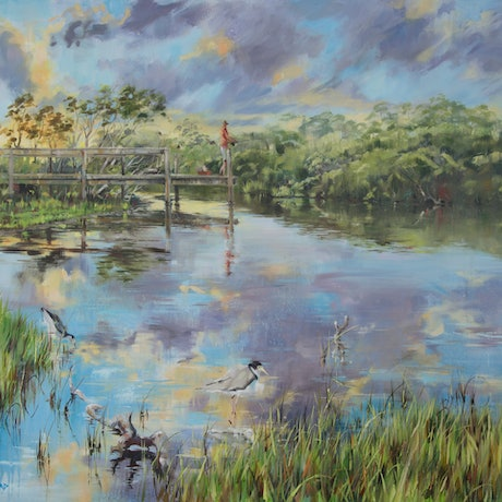 (CreativeWork) Hindmarsh River by Paul Whitehead. Oil Paint. Shop online at Bluethumb.