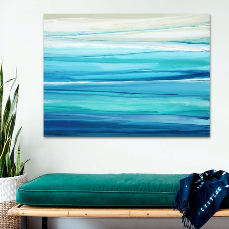 (CreativeWork) Portsea - blue green abstract seascape by Stephanie Laine Pickering. Acrylic Paint. Shop online at Bluethumb.