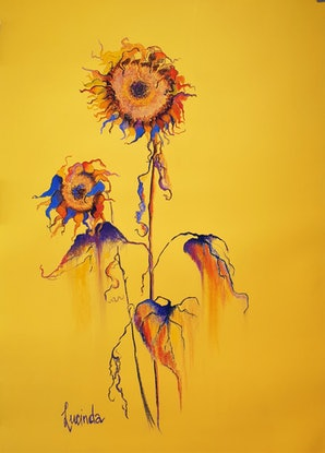 (CreativeWork) Sunshine Yellow by Lucinda Leveille. Drawings. Shop online at Bluethumb.