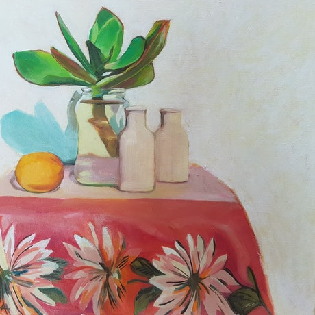 (CreativeWork) Succulent still life II by Alice Tilley. Oil Paint. Shop online at Bluethumb.