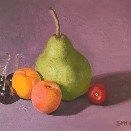 (CreativeWork) Still Life-Fruit by Ishbel Morag Miller. Oil Paint. Shop online at Bluethumb.