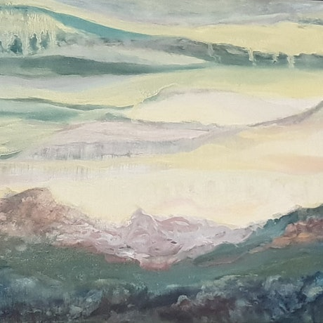 (CreativeWork) Winter evening  by Vanessa Whittington. Oil Paint. Shop online at Bluethumb.