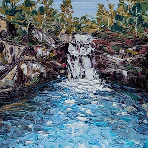 (CreativeWork) Blue Wren Cottage Waterfalls - Landscape Painting by Angela Hawkey. #<Filter:0x00007fa57c728f48>. Shop online at Bluethumb.