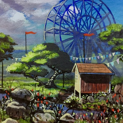 (CreativeWork) The Ferris Wheel by Ross Morgan. Acrylic Paint. Shop online at Bluethumb.