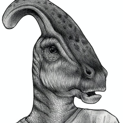 (CreativeWork) Parasaurolophusin' Around Ed. 2 of 30 by Charli Lin. Print. Shop online at Bluethumb.