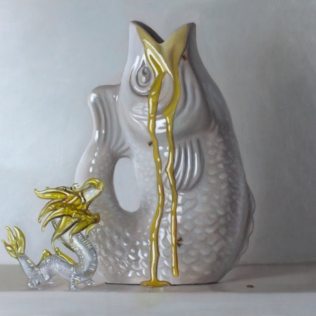 (CreativeWork) Honey and Porcelain #2 (Framed) by Casey Thornton. Oil Paint. Shop online at Bluethumb.