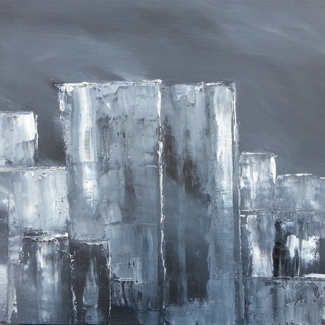 (CreativeWork) CITY SMOG. by owen jones. Oil Paint. Shop online at Bluethumb.