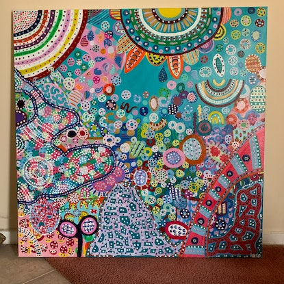 (CreativeWork) Dotty World #1 by Kate Boundy. Acrylic Paint. Shop online at Bluethumb.