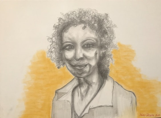 (CreativeWork) Margaret Atwood Looking by Rachael Hains-Wesson. Drawings. Shop online at Bluethumb.