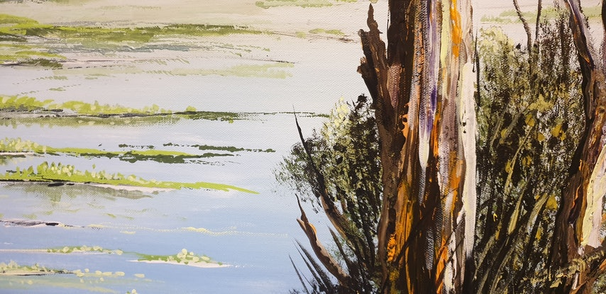 (CreativeWork) Cockatoo Creek, West Kimberley  by Heather Murchie. Acrylic Paint. Shop online at Bluethumb.